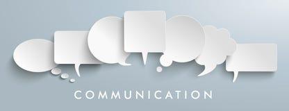 White Paper Speech Balloons Communication Header. White paper communication bubbles on the gray background stock illustration