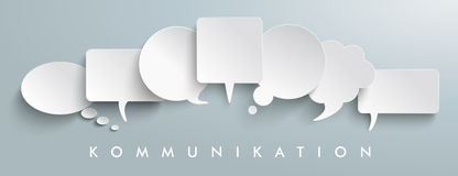 White Paper Speech Balloons Kommunication Header. German text Kommunikation, translate communication vector illustration