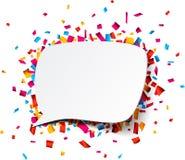 White paper speech bubble over confetti Stock Images
