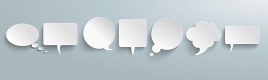 White Paper Speech Bubbles Gray Header. White paper communication bubbles on the gray background vector illustration