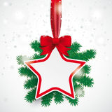 White Paper Star Red Ribbon Snowfall Branches Stock Photography