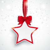 White Paper Star Red Ribbon Snowfall. Christmas star with snowflakes on the white background Stock Images