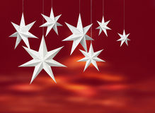 White paper stars on red Stock Photo