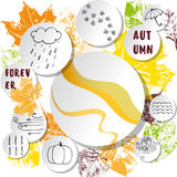 White paper stickers on the abstract autumnal leaves background. White paper stickers and bubbles on the abstract autumnal leaves background Royalty Free Stock Image