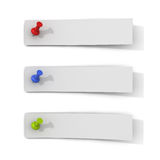 White paper strip notes with push pins on white background Stock Photos