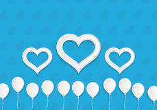 White Paper Style Ballons and Hearts. Greeting Card Template. White Paper Style Ballons and Hearts. Greeting Card vector Template Royalty Free Stock Photos