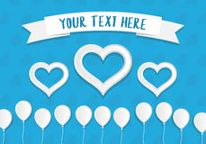 White Paper Style Ballons and Hearts With a Place for Text. Greeting Card Template. White Paper Style Ballons and Hearts With a Place for Text. Greeting Card Royalty Free Stock Photography