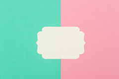 White paper tag for text. Flat lay. Minimal concept Stock Image