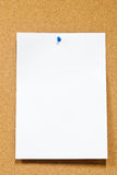White paper with thumbtack on corkboard Royalty Free Stock Photography