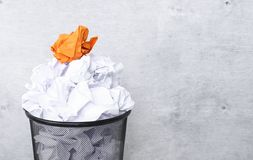 White paper in the trash can Stock Images