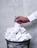 White paper in the trash can Stock Image