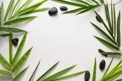 White paper with tropical leaf frame. Green bamboo leaf and sea beach pebbles flat lay. Stock Image