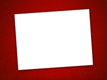 White Paper Valentine's Day Card on the Red Background Royalty Free Stock Photography