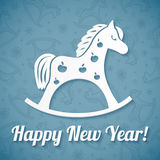 White paper vector horse on blue background Stock Image