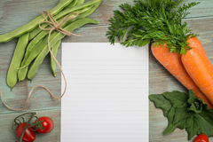 White paper and vegetables Royalty Free Stock Photo