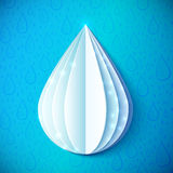 White paper water drop in origami style Royalty Free Stock Photo