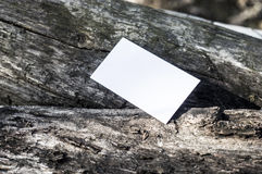 White paper on wood. White paper on a piece of wood, in sunshine, ideal for poster mock up Royalty Free Stock Photography