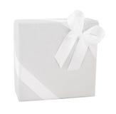 White paper wrap gift box ribbon present christmas birthday wedding isolated Stock Photo