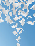 White papers. Flying on blue sky background vector illustration