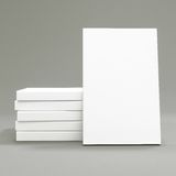 White Papers on a gray background. 3d rendering Stock Photos