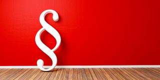 White Paragraph smybol against a red wall - law and justice concept image - 3D Rendering Stock Photo