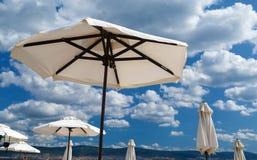 White parasols Stock Photos