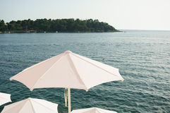 White parasols Stock Photos
