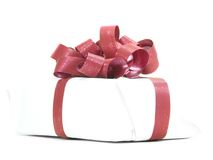White Parcel Red Ribbon royalty free stock images