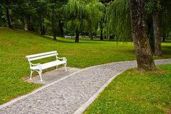 White park bench Royalty Free Stock Images