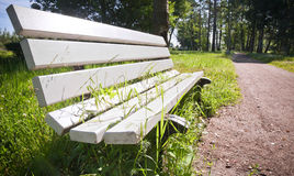 White park bench with grass growing through Stock Photography