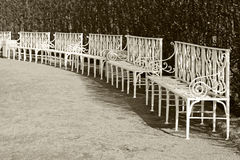 White park benches in the row. Retro stylized photo Royalty Free Stock Images