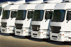 White parked trucks Royalty Free Stock Images