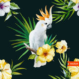 White parrot, hibiscus, tropical, palm trees, flowers, pattern, wallpaper Royalty Free Stock Photo