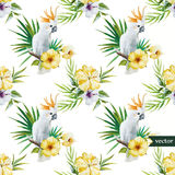 10 white parrot, hibiscus, tropical, palm trees, flowers, pattern, wallpaper. Beautiful watercolr pattern with white parrot and hibiscus royalty free illustration