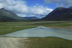 White Pass & Yukon Route. The River at Carcross Yukon Territory stock photo