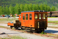 The white pass & yukon train yard with crew accomodation. A maintenance wagon used for servicing an excursion train at skagway royalty free stock photo
