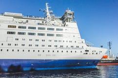 White passenger ferry bow fragment Stock Image