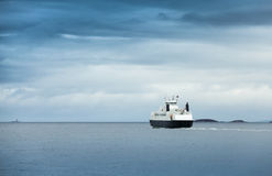 White passenger ferry in overcast weather Royalty Free Stock Photo