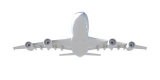 White passenger plane. Bottom view Stock Images