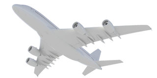 White passenger plane. Bottom view Royalty Free Stock Photo
