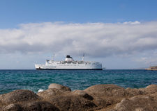 White passenger ship approach at a sea port Royalty Free Stock Photography
