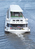 White passenger ship sails on a river Royalty Free Stock Photography