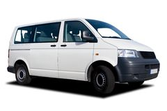 White Passenger Van Stock Photo