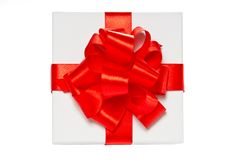 White pasteboard gift box. Top view. Royalty Free Stock Photography