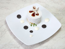 White pastry with mint Stock Photo