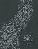 White pattern on black. White hand-drawing pattern on black paper Royalty Free Illustration