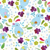 White pattern with blue bunny and flowers. vector illustration