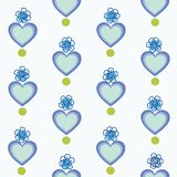 White pattern with blue heart and flowers. stock illustration
