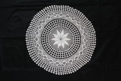 White pattern crochet tablecloth Stock Photos