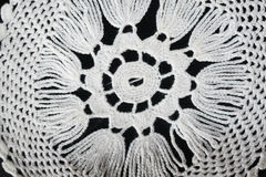 White pattern crochet tablecloth. Pattern of white  crochet tablecloth Royalty Free Stock Photos